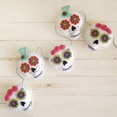 Day of the Dead Sugar Skull Felt Garland  Halloween by Fishtitch