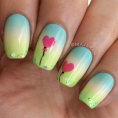 Pastel green-yellow-blue gradient with pink heart balloon accents!!!  Too cute!