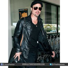 Fashionable Brad Pitt Airport Leather Black JacketJacket Features:Outfit type: Genuine Leather JacketGender: MaleColor: BlackFront: Front Zip ClosureCollar: Shirt Style CollarLining: Viscose LiningCuffs: Round Cuffs
