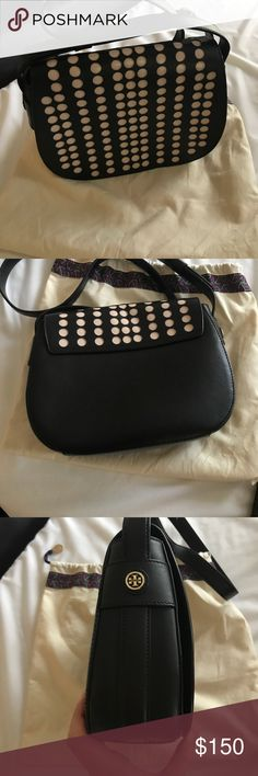Tory Burch crossbody Authentic. Never used. Dots are cream colored. Comes with original dust bag.  Small indentation due to storage. Tory Burch Bags Crossbody Bags
