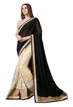 Georgette Black & Beige Coloured New Trend Party Wear Sarees Bollywood Sarees Online on Shimply.com