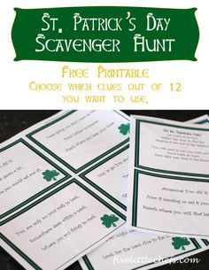 St. Patrick's Day Scavenger Hunt around the home is fun for the kids. Use this free printable but don't forget to grab a treat for the end of the hunt.