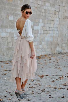 draped skirt, open back. so chic.