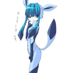 animal ears aqua eyes bangs blue hair flat chest glaceon moemon... ❤ liked on Polyvore featuring pokemon and anime