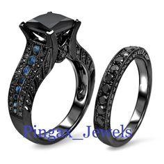 Gothic Black Diamond Bridal Set Princess Diamond Ring with Blue Sapphire #gothicweddingrings