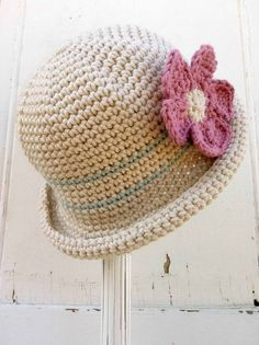 Crochet Hat Pattern Rolled Brim Hat Crochet by bubnutPatterns for a child Crochet Baby Hat Patterns, Crochet Baby Hats, Crochet Beanie, Baby Knitting, Knitted Hats, Knit Crochet, Crochet Summer, Baby Patterns, Summer Patterns