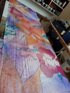 Scarves, Hand Painted, Painting, Scarf Head, Scarfs, Painting Art, Paintings, Painted Canvas, Drawings