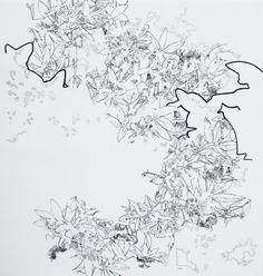 Elena Nieves, Pasionaria III, 2008, tinta sobre papel y poliéster, 65 x 60 cm.