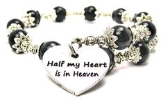 Half My Heart Is In Heaven Cat's Eye Wrap Charm Bracelet in Black * Click image for more details. (This is an affiliate link) #WomensJewelry