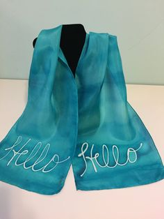 Hand painted silk scarf from my inspirational line. This is for the care-free girl who wants to show she is friendly and open to new adventures. Light and airy, beautiful turquoise tone. Size 11x60.