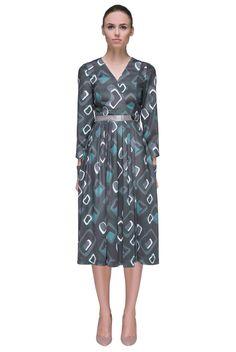 'Silver Success' Belted, Longe Sleeve, Midi Dress