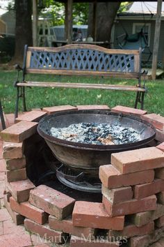 These DIY inexpensive and repurposed patio ideas will amaze you. Join blogger Marty's Musings on a tour of her well loved backyard, patio and deck. Build a fire pit from there remnants of an old chiminea and free bricks or build a walkway using pavers and crushed bricks. Tons of ingenious ideas here!