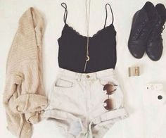 combat boots shoes cardigan white shorts black tank moon necklace cute outfit
