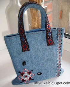 RECYCLED OLD JEANS BAG #DENIM #DIY # SEWING ++ BOLSA HECHA DE TELA RECICLADA DE PANTALONES VAQUEROS MANUALIDAD COSER