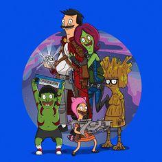 Bob's Burgers and Guardians of the Galaxy mashup design