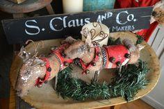 2 PRIMITIVE Standing REINDEER Ornies Dolls Sneak Peek at Christmas StoneMtPrims…