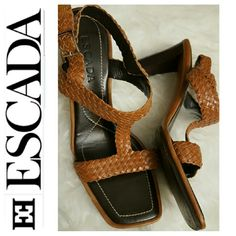 Escada Leather Strappy Sandals Escada Signature Designer Shoes, Strappy Sandals Heels (3 inches) in Woven Leather Pattern Style, Gold Tone Hardware  Excellent Used Condition, Size 38 1/2 in EU Escada Shoes Sandals
