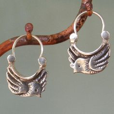 Earrings | Manya Pickard.  Sterling silver doves.