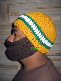 Crocheted ADULT Beard Hat Green Bay Packers by SubasJandSualyJShop, $30.00