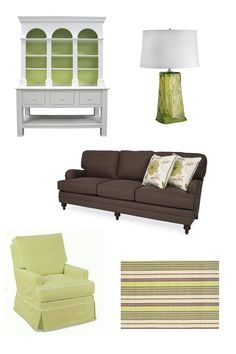 green & brown cottage style living room decor