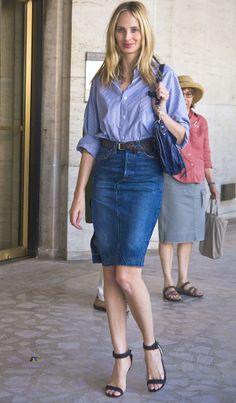 Lauren Santo Domingo. Loving the denim pencil skirt.
