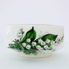 """Vintage Argyle Lily of the Valley Open Sugar Bowl. c1960-1979. 4"""" x 2"""" tall. GBP 9.99 (approx $15.31 US) at vintage_pantry on ebay,6/3/15"""