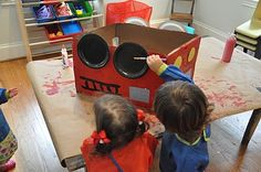 Cardboard box firetruck