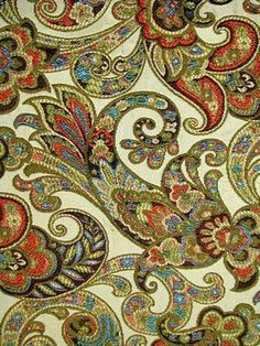 Paisley Fabric-Great for upholstery fabric, pillow fabric or drapery fabric Textile Patterns, Cool Patterns, Textile Design, Fabric Design, Print Patterns, Pattern Design, Motif Paisley, Paisley Design, Paisley Pattern