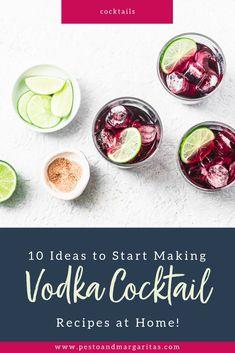 10 Ideas to Start Making Vodka Cocktail Recipes at home! Cocktails Using Vodka, Cocktail Vodka, Cosmopolitan Cocktails, Vodka Martini, Vodka Drinks, Easy Cocktails, Classic Cocktails, Cocktail Night, Cocktail Ideas