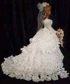 Lisa, Crocheted Bride Doll Barbie Bridal, Barbie Wedding Dress, Wedding Doll, Barbie Dress, Doll Dresses, Crochet Doll Dress, Crochet Barbie Clothes, Knitted Dolls, Crochet Toys