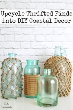 Wine bottle crafts and upcycling ideas for glass bottles and thrift store items into Beach decor or coastal home decor by Sadie Seasongoods Beach Cottage Decor, Coastal Cottage, Coastal Decor, Coastal Farmhouse, Coastal Homes, Coastal Living, Glass Bottle Crafts, Glass Bottles, Bottle Art