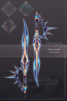 Special Weapon Shard- Imperial Marina (dual dagger type) If this sort of adopt interests you, please come check out our shop! [The Cauldron] Special Shard- Imperial Marina Fantasy Sword, Fantasy Armor, Fantasy Weapons, Dark Fantasy Art, Medieval Fantasy, Ninja Weapons, Anime Weapons, Sword Drawing, Sword Art