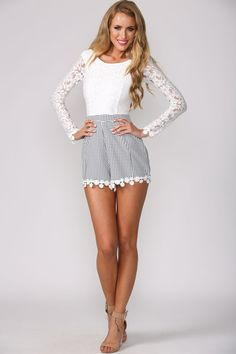 8080004b47e Gingham and Lace Playsuit White Lace Playsuit
