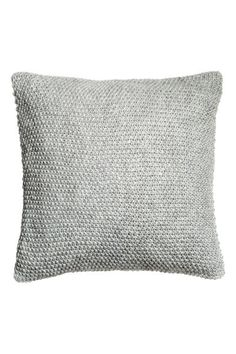 Moss-knit cushion cover - Light grey - Home All Knitted Cushion Covers, Grey Cushion Covers, Knitted Cushions, Grey Cushions, Throw Pillow Covers, Throw Pillows, Knit Pillow, H&m Home, Cover Gray