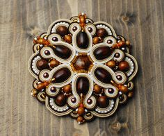 Soutache brooch, Brown and beige brooch, Embroidered brooch, Beaded brooch, Soutache jewelry, Gift for her, Circle brooch, Big brooch