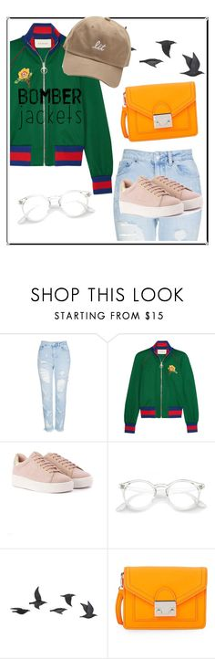 """❤Bomber Jackets Outfit❤"" by puddingis ❤ liked on Polyvore featuring interior, interiors, interior design, home, home decor, interior decorating, Topshop, Gucci, Jayson Home and Loeffler Randall"