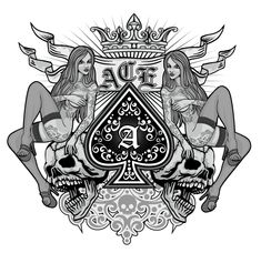 ace of spades with skull and sexy girls, grunge vintage design t shirts Wolf Tattoos, Skull Tattoos, Ace Of Spades Tattoo, Card Tattoo Designs, Spade Tattoo, Ace Card, Playing Cards Art, Skull Artwork, Skeleton Art