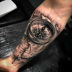 Dope tattoos, forearm tattoos, skull tattoos, tattoos for guys, forearm . Forarm Tattoos, Map Tattoos, Neue Tattoos, Skull Tattoos, Body Art Tattoos, Tattos, Compass And Map Tattoo, Compass Tattoo Design, Tattoo Sleeve Designs