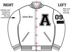 letterman jacket patches placement - Google Search