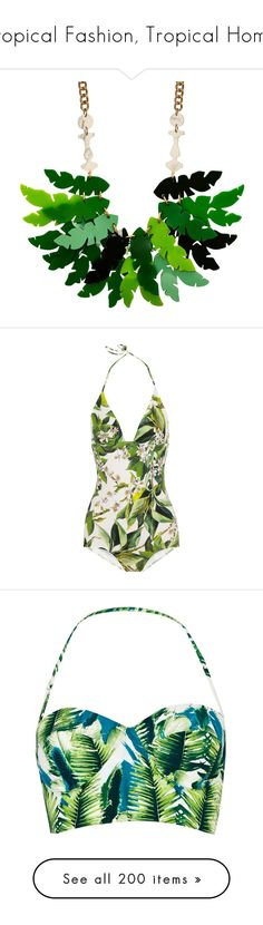 """Tropical Fashion, Tropical Home"" by judymjohnson ❤ liked on Polyvore featuring jewelry, necklaces, palm jewelry, palm tree necklace, palm tree jewelry, swimwear, swimsuit, beach, bikinis and bikini tops"
