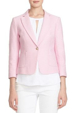 I love blazers and would like to add to my collection. I would like some more spring/summer colors like pink, peach, nude, light blue. CeCe by Cynthia Steffe Basket Weave One-Button Blazer available at #Nordstrom