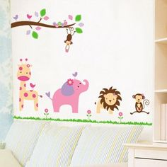 KAWALL BABY Kids Line Animal Kingdom Jungle Nursery Wall Sticker Decals Decor for Boys Girls Kids. Animal Kingdom Theme. Peel & stick; No paint, no tools, and no hassle. Remove in minutes without damaging your wall. Easy Application, just peel each pre-cut sticker from the liner, then smooth it on the walls, doors, furniture, mirrors, windows, or any other smooth, flat surface. Compact sheet size 24in x 35in, extended size depends on actual application.