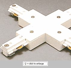 "2-circuit ""X"" connector with power feed to connect four track sections into a cross configuration.  Regular price: $35.00  Sale price: $25.50"