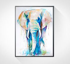 African Elephant watercolor painting print , animal watercolor, animal painting, animal art, animal portrait, African Elephant painting