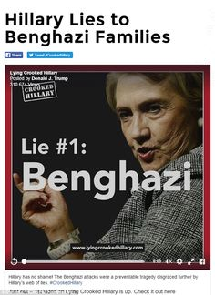 The site's first hit on the Democrat focuses entirely on the 2012 attack at the U.S. compound in Benghazi, Libya