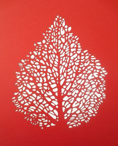 Wall Decor Papercut Leaf Skeleton in Red by CuriousDoodles on Etsy