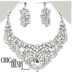 HIGH END PRINCESS CLEAR CHUNKY CRYSTAL PROM WEDDING FORMAL NECKLACE JEWELRY SET  #Unbranded