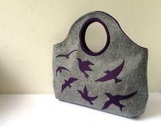 Felt Bracelet Tote - Grey and Purple Birds
