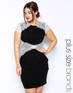 Paper Dolls Plus Short Sleeve Lace Overlay Pencil Dress