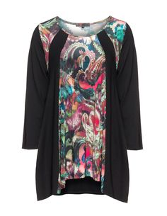 Exelle Printed jersey top in Black / Versicolour